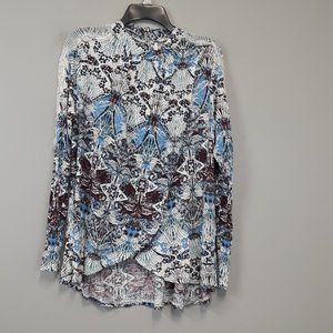 Free People Slit Front Open Lace Keyhole Top